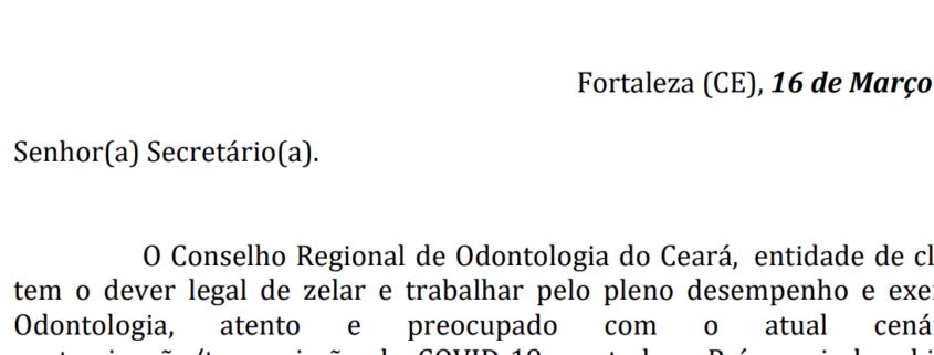 OFÍCIO CIRCULAR CRO-CE Nº 001/2020